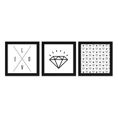 Quadros 20x20 (3 unidades) Diamante