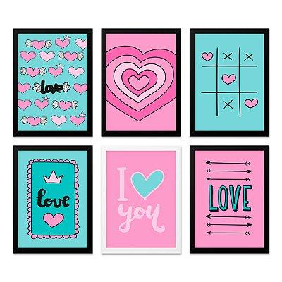 Quadros 20x30 (6 unidades) Love Rosa