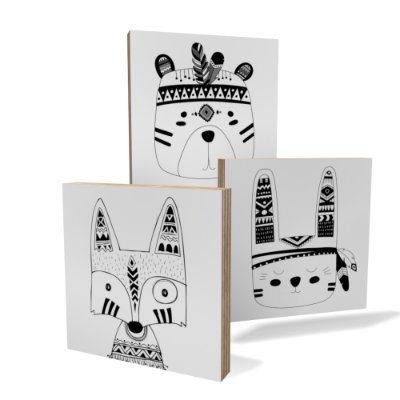 Kit 3 Placas Compensado Mini (10x10cm) Bixinhos Indios