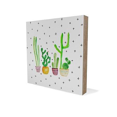 Placa Compensado Mini Desenho Cactus