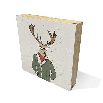 Quadro Pinus Quadrado Deer Illustration