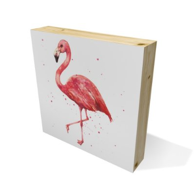 Quadro Pinus Quadrado Flamingo Watercolor
