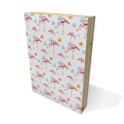Quadro Pinus Retangular Textura Flamingos