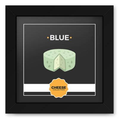 Quadro 20x20 Cheese Preto Blue