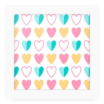 Quadro 20x20 Cute Love Hearts