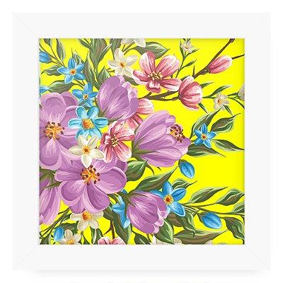 Quadro 20x20 Floral Flowers Amarelo