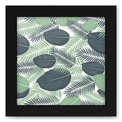 Quadro 20x20 Floral Green And Black