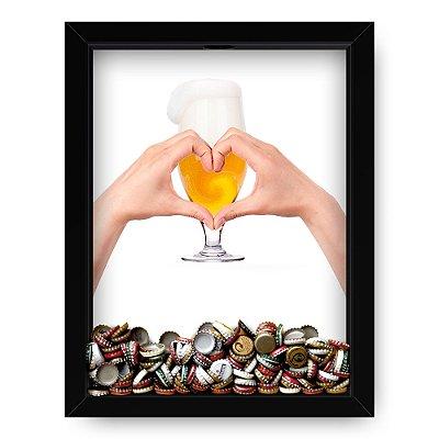 Quadro Porta Tampinha de cerveja Beer Hand Heart