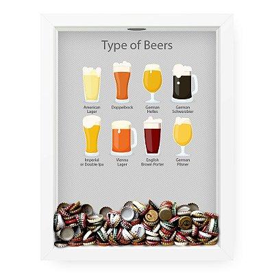 Quadro Porta Tampinha de Cerveja  Beer Kinds