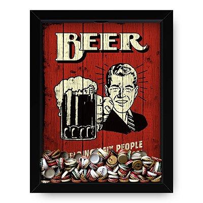 Quadro Porta Tampinha de Cerveja  Beer Retro