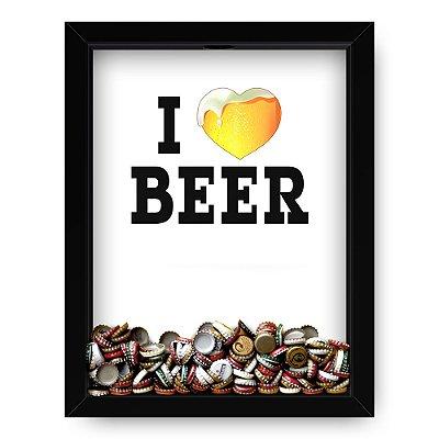 Quadro Porta Tampinha de Cerveja  I Love Beer