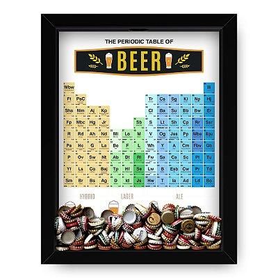 Quadro Porta Tampinha de Cerveja Tabela Periódica
