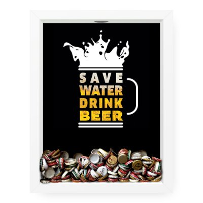 Quadro Porta Tampinha de Cerveja  Save Wate