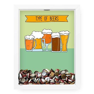 Quadro Porta Tampinha de Cerveja  Type Of Beers Cartoon