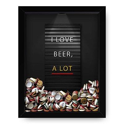 Quadro Porta Tampinha de Cerveja  Letrex Black