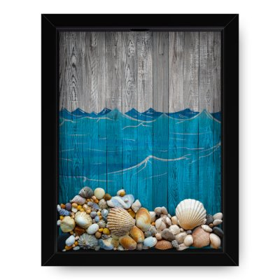 Quadro Porta Conchas  Wood Sea