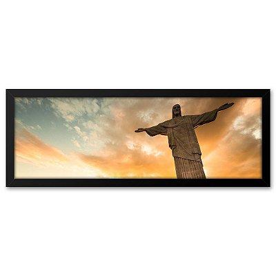 Quadro 60x20 Cristo Pôr do Sol no Rio de Janeiro