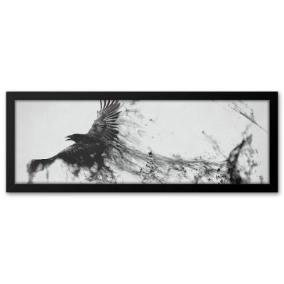 Quadro 60x20 Pássaro negro