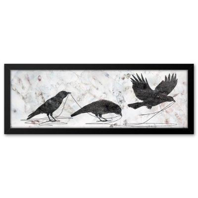 Quadro 60x20 Pássaros Pretos