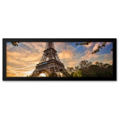 Quadro 60x20 Paisagem em vota da Torre Eiffel Paris