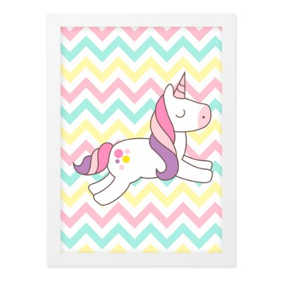 Quadro A3 Unicornio Cartoon