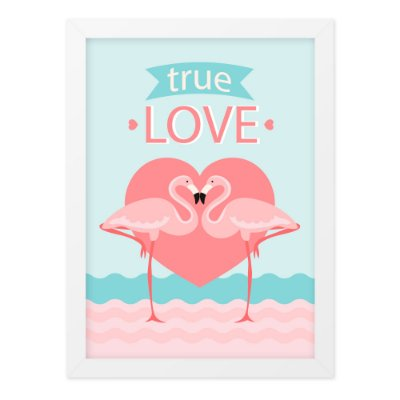 Quadro A3 Flamingo True Love