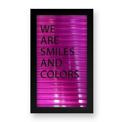 Placa de Letras Personalizável Rosa com Moldura Preta