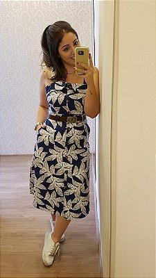 Vestido Midi Estampado Linho Floral