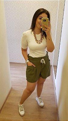 Shorts Linho com Bolso e Cordão