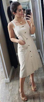 Vestido Linho Midi Listrado