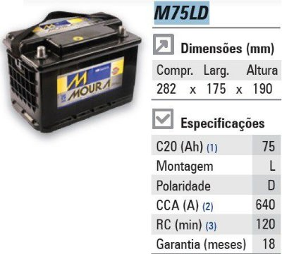 Bateria automotiva MOURA M75LD