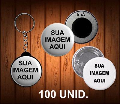 100 bottons, chaveiro ou imã