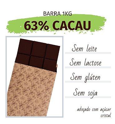 Barra de chocolate 63% cacau 1kg - sem glúten, lactose, leite e soja