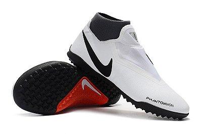 Chuteira Society Nike Phantom Vision Elite Classic Branca e Vermelho FRETE GRÁTIS