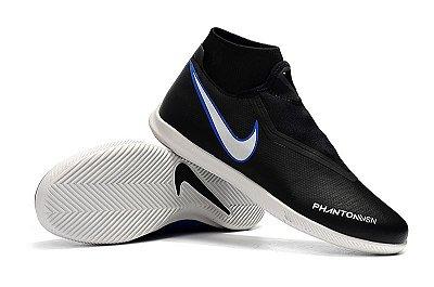 Chuteira Nike Phantom Vision Elite Futsal Cano Alto Preta   Solado Branco 78589b9fcb8a4