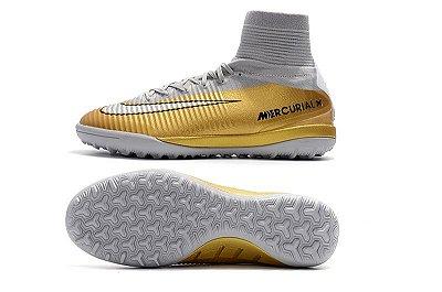Chuteira Nike MercurialX Superfly VI CR7 Society Dourada (Cano Alto)