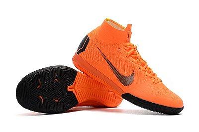 Chuteira Futsal Nike Mercurial SuperflyX 6 Elite Futsal Laranja (cano alto)