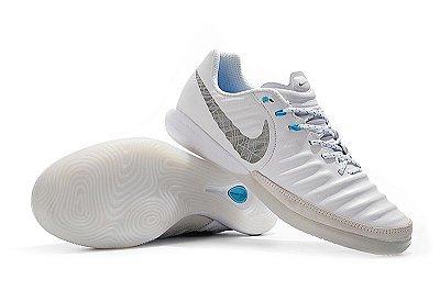 Chuteira Futsal Nike Tiempo Legend 7  Branca e Azul Bebê