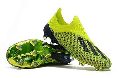 Chuteira Campo Adidas X18 FG Azul e Verde Flourescente
