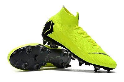 Chuteira Nike Mercurial Superfly VI Elite Verde Flourescente Trava Mista Alumínio  (Cano Alto)