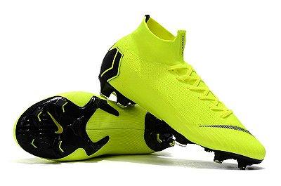 Chuteira Campo Nike Mercurial Superfly VI Elite FG Verde Flourescente Preto  (Cano Alto) b2240558289fa