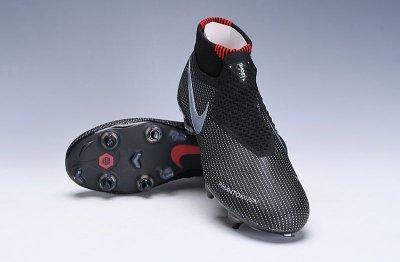 Chuteira Campo Nike Phantom Vision VSN Elite Jordan Trava Mista Alumínio Preta/Vermelho (Cano Alto)