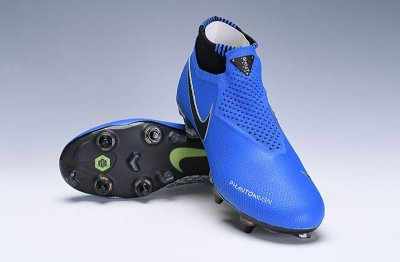 Chuteira Campo Nike Phantom Vision VSN Elite Trava Mista Alumínio Azul/Preteada (Cano Alto)