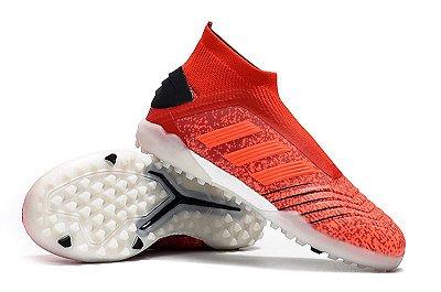 Chuteira Adidas Predator 19 Society Vermelha/Branco (Cano alto)