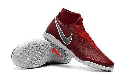 Chuteira Nike Phantom Vision Elite VSN Society Marsala e Cinza FRETE GRÁTIS