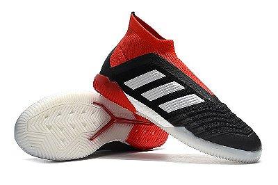 Chuteira Futsal Adidas Predator 18 Preta e Vermelho (Cano alto)