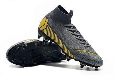 "Chuteira Nike Mercurial Superfly 360 Elite SG Cinza/Amarelo ""Game Over"" Trava Mista Alumínio (Cano alto/botinha)"