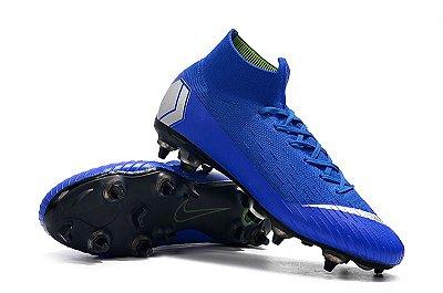 Chuteira Nike Mercurial Superfly VI Elite Azul Trava Mista Alumínio  (Cano Alto)