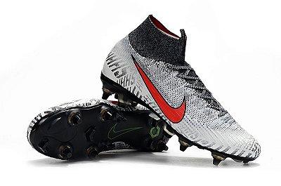 Chuteira Nike Mercurial Vapor XII Elite Neymar Campo Trava Mista Alumínio  (Cano Alto)