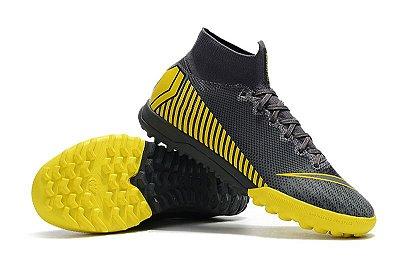 "Chuteira Nike Mercurial Superfly Society ""Game Over"" Cinza e Amarelo (Cano Alto) FRETE GRÁTIS"